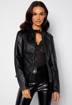 JDY Emily Faux Leather Jacket Black bubbleroom.no