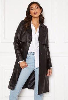 JOFAMA Jill Leather Trench Coat Black Bubbleroom.no
