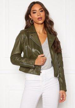 JOFAMA Kajta Leather Jacket Green Bubbleroom.no