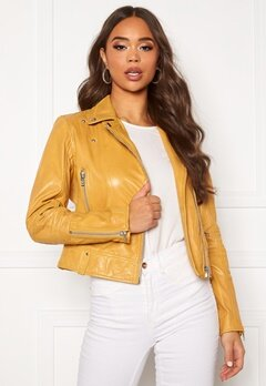 JOFAMA Kajta Leather Jacket Yellow Bubbleroom.no