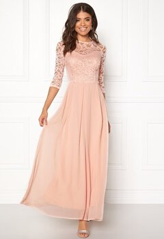 John Zack 3/4 Sleeve Maxi Dress Nude Bubbleroom.no
