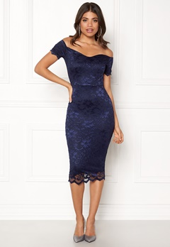 John Zack Bardot Lace Midi Dress Navy Bubbleroom.no