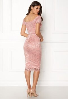 John Zack Bardot Lace Midi Dress Nude Bubbleroom.no