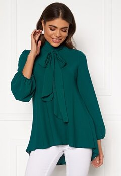 John Zack Bow Blouse Forest Green Bubbleroom.no