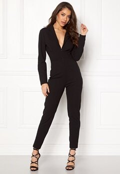 John Zack Deep V Neck Jumpsuit Black Bubbleroom.no