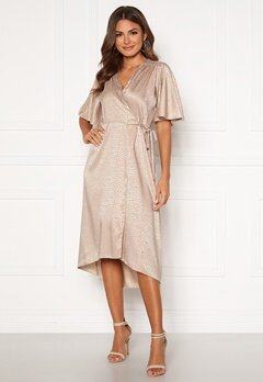 John Zack Flared Sleeve Wrap Dress Taupe Jaquard Bubbleroom.no