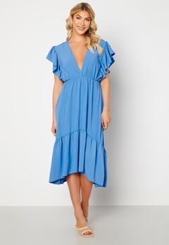 John Zack Frill Sleeve V Neck Midaxi Dress Blue bubbleroom.no