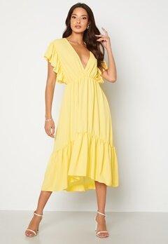 John Zack Frill Sleeve V Neck Midaxi Dress Lemon bubbleroom.no