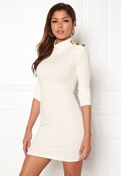 John Zack Gold Button Bodycon Dress White Bubbleroom.no