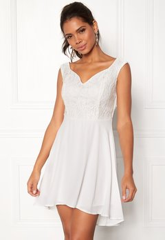 John Zack Lace Bodice H/L Dress White Bubbleroom.no