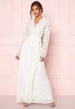 John Zack Lace Bodice Wrap Dress Ivory Bubbleroom.no