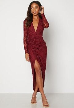 John Zack Lace Long Sleeve Rouch Dress Burgundy Bubbleroom.no