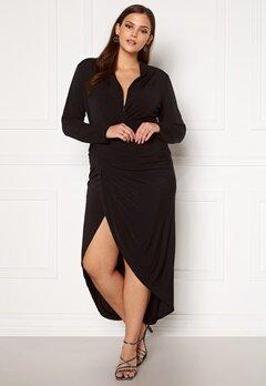 John Zack Long Sleeve Rouch Curve Dress Black Bubbleroom.no
