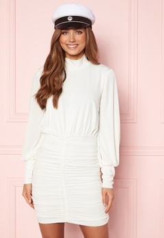 John Zack Long Sleeve Rouched Mini Dress White Bubbleroom.no