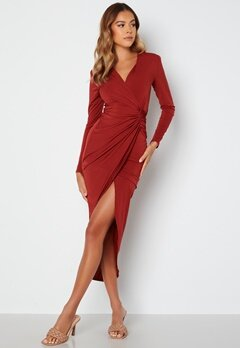 John Zack Long Sleeve Wrap Maxi Dress Burgundy bubbleroom.no