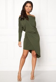 John Zack Off Shoulder Dress Khaki Bubbleroom.no