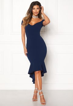 John Zack Off Shoulder High Dress Navy Bubbleroom.no