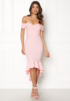 John Zack Off Shoulder High Dress Pink Bubbleroom.no