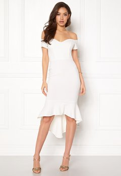 John Zack Off Shoulder High Dress White Bubbleroom.no