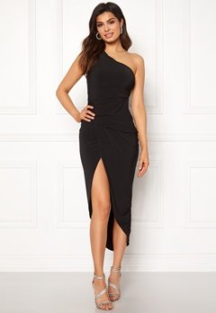 John Zack One Shoulder Rouch Dress Black Bubbleroom.no