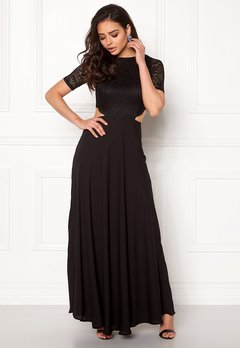 John Zack Open Back Lace Maxi Dress Black Bubbleroom.no