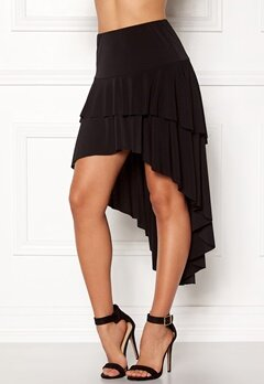 John Zack Ruffle Skirt High Low Hem Black Bubbleroom.no