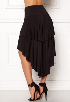 John Zack Ruffle Skirt High Low Hem Black Bubbleroom.no