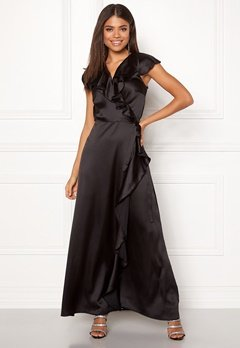 John Zack Ruffle Wrap Maxi Dress Black Bubbleroom.no