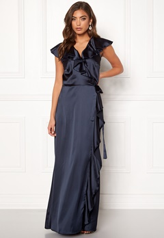 John Zack Ruffle Wrap Maxi Dress Navy Bubbleroom.no