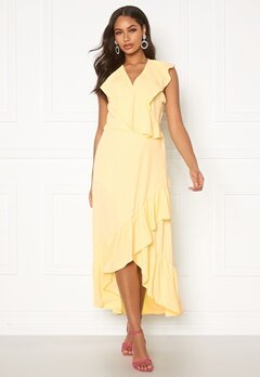 John Zack Ruffle Wrap Midaxi Dress Lemon Bubbleroom.no