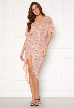 John Zack Sequin Kimono Sleeve Rouch Dress Blush Bubbleroom.no