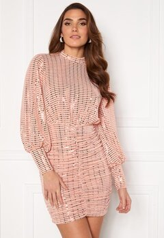 John Zack Sequin Long Sleeve Rouched Mini Dress Blush Bubbleroom.no