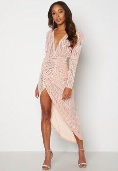 John Zack Sequin Rouch Maxi Dress Blush Bubbleroom.no