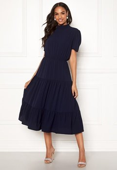 John Zack Short Sleeve Tiered Dress Navy Bubbleroom.no