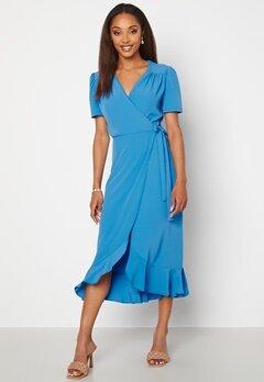 John Zack Short Sleeve Wrap Dress Dusty Blue bubbleroom.no