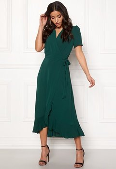 John Zack Short Sleeve Wrap Dress green Bubbleroom.no