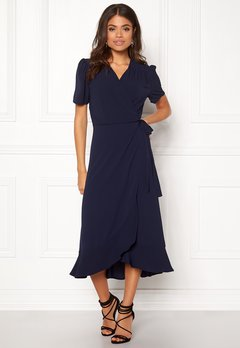 John Zack Short Sleeve Wrap Dress Navy Bubbleroom.no