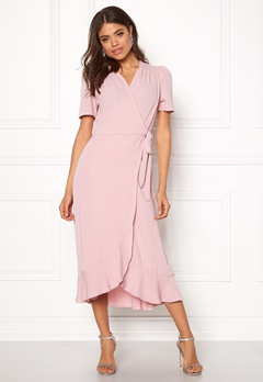 John Zack Short Sleeve Wrap Dress Pink Bubbleroom.no
