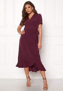 John Zack Short Sleeve Wrap Dress Wine Bubbleroom.no