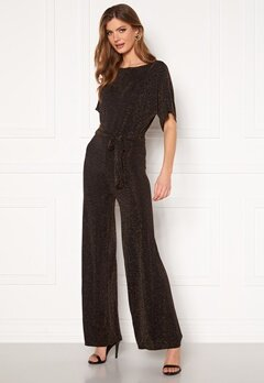 John Zack Slash Neck Glitter Kimono Jumpsuit Black/Gold Bubbleroom.no