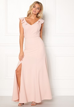 d9da49c261a3 John Zack Tie Back Frill Maxi Dress Blush Bubbleroom.no