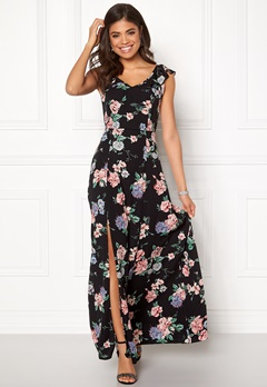 John Zack Tie Back Frill Maxi Dress Black Floral Bubbleroom.no