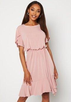 John Zack Tulip Sleeve Belted Dress Rose Bubbleroom.no