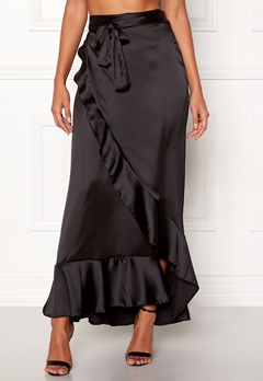 John Zack Wrap Frill Maxi Skirt Black Bubbleroom.no