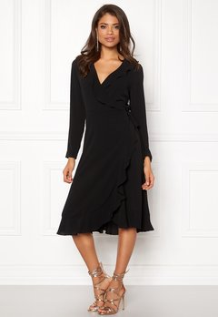 John Zack Wrap Frill Midi Dress Black Bubbleroom.no