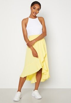 John Zack Wrap Frill Midi Skirt Lemon Bubbleroom.no
