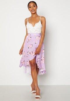 John Zack Wrap Frill Midi Skirt Printed Lilac Print Bubbleroom.no