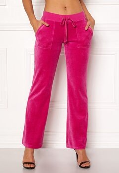 Juicy Couture Velour Del Rey Pant Raspberry Pink Bubbleroom.no