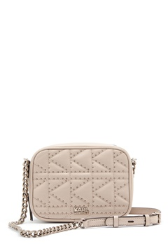Karl Lagerfeld Quilted Stud Camera Bag Taupe Bubbleroom.no