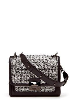 Karl Lagerfeld Quilted Tweed Small Bag Black/White Bubbleroom.no